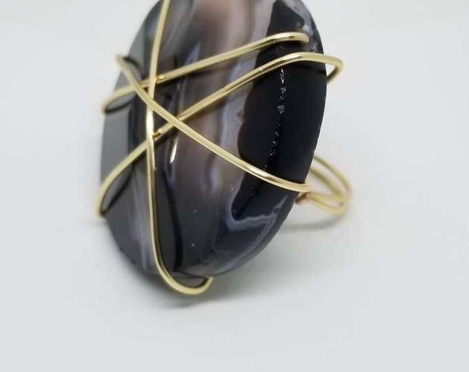 READY TO SHIP, natural stone, wire ring, statement jewelry, fancy