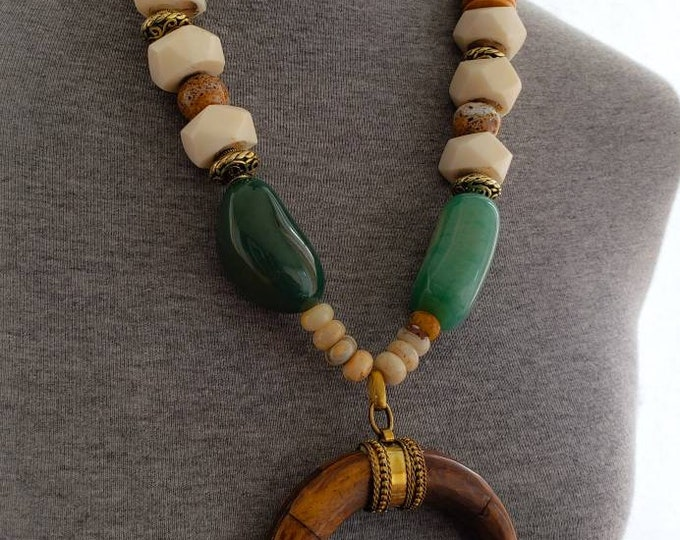 READY TO SHIP, horn necklace, brass, bone agate, wood necklace, african inspired, statement jewelry