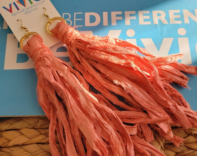 Gypsy sari silk earrings. Coral, bohochic, afrocentric, fringe earrings, statement jewelry, beachy, statement earrings, tassel earrings.