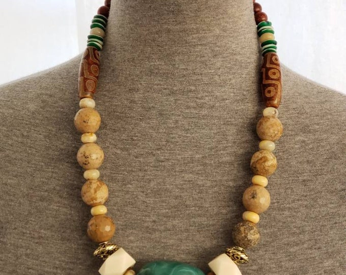 READY TO SHIP,brass, bone agate, wood necklace, african inspired, statement necklace