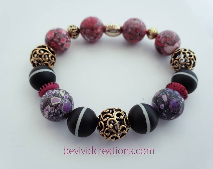 READY TO SHIP, Semi Precious Stones Bracelet Jasper Gemstone  Stretch Bracelet