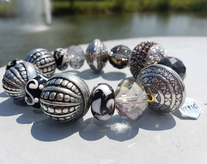 READY TO SHIP, Multi Semi Precious Stone Bracelet Handmade Gemstone Bracelet Unisex Bracelet Stretch Bracelet Metal Crystal Glass