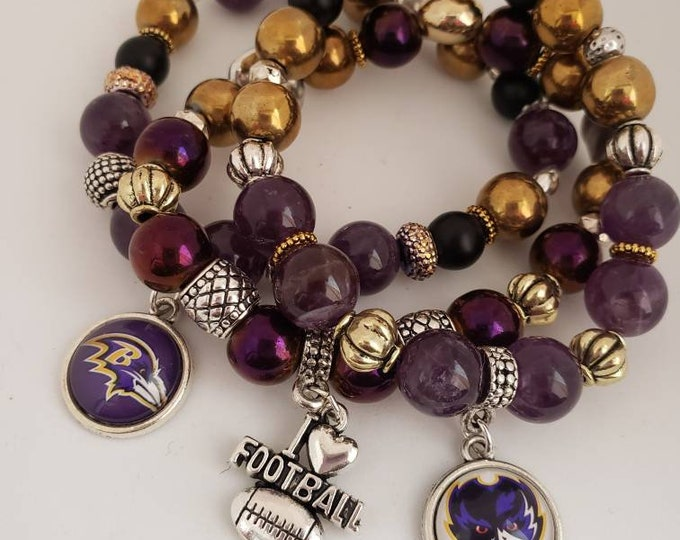 READY TO SHIP hematite amethyst metals multi semi precious stretch bracelet Baltimore Ravens themed bracelets
