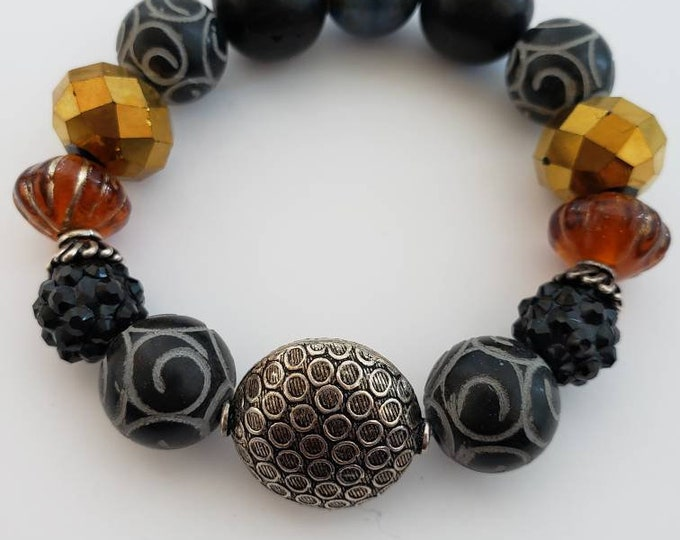 Amazing stretch beaded bracelet, onyx bracelet, faceted bead bracelet, ceramic bead bracelet, unique gifts, wakanda, afrocentric, Be Vivid