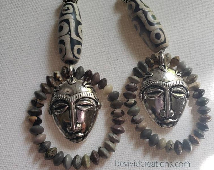 READY TO SHIP beautiful beaded earrings with African mask charm.