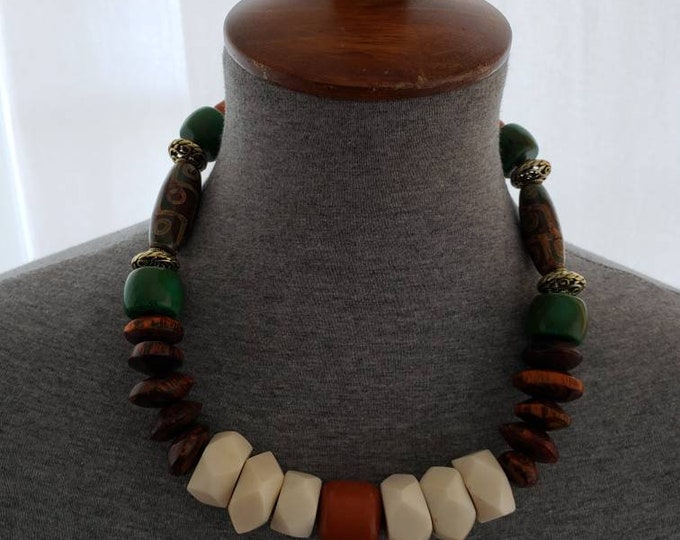 READY TO SHIP brass, bone, amber, turquoise, african inspired, statement necklace