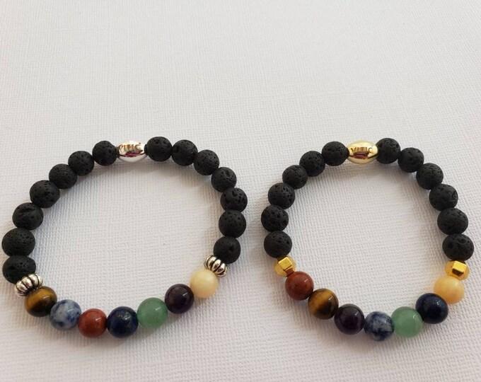 READY TO SHIP, Charkra bracelet using semi precious stones and lava beads for essential oils BeVivid
