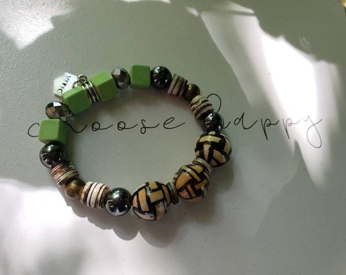 Amazing stretch beaded bracelet, jade, jasper bracelet, hematite, ceramic bead bracelet, unique gifts, wakanda, afrocentric, Be Vivid