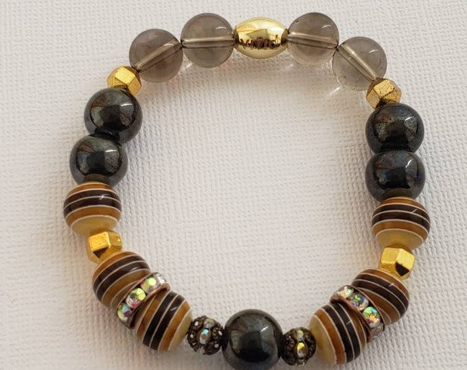 READY TO SHIP, Semi Precious Stones Bracelet Handmade  Gemstone Bracelet Boho Bracelet Stretch Bracelet Gifts BeVivid
