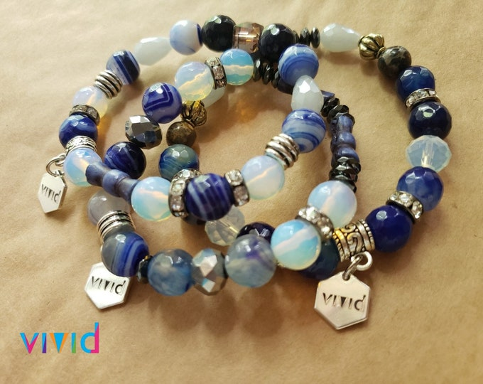 READY TO SHIP hematite howlite agate metals multi semi precious stretch bracelet