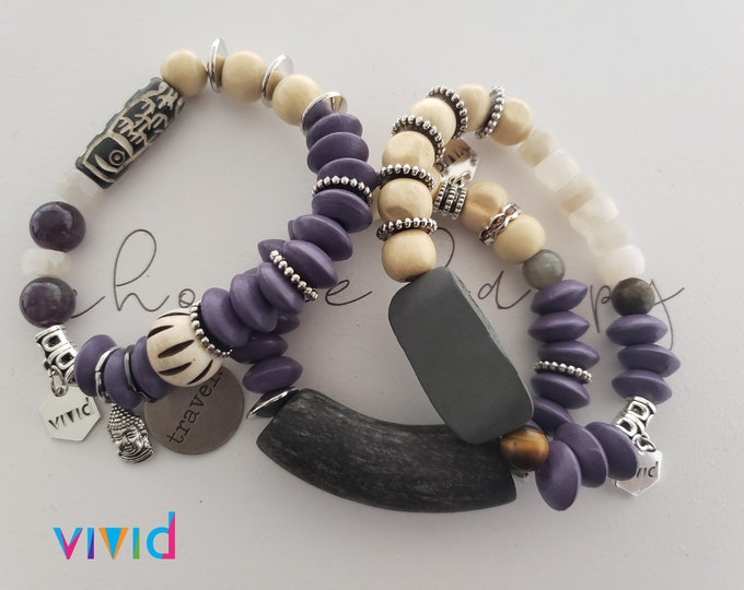 READY TO SHIP, Stretch Beaded bracelet, semi precious stones, wood, stacked bracelet, arm candy Be Vivid