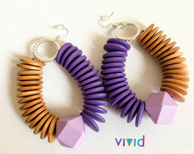 READY TO SHIP wood lightweight earrings. Afrocentric, bohemian chic statement earrings #BeVivid