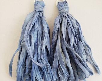 Gypsy silk tassle earrings. Pastel blue, bohochic, afrocentric, fringe earrings, statement jewelry, statement earrings, tassel earrings.
