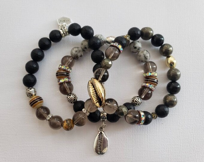 READY TO SHIP, Stretch Beaded bracelet, semi precious stones, mixed media and stones, stacked bracelet, arm candy, cowry shells