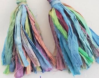 Gypsy silk tassle earrings. Pastel, bohochic, afrocentric, fringe earrings, statement jewelry, statement earrings, tassel earrings.