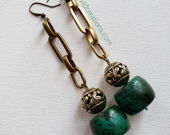 READY TO SHIP beautiful beaded earrings brass and turquoise.