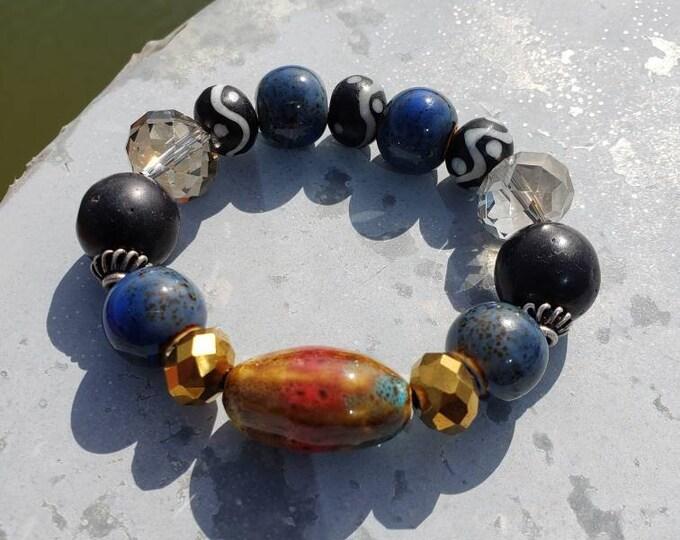 Amazing stretch beaded bracelet, onyx bracelet, faceted bead bracelet, ceramic bead bracelet, unique gifts, wakanda, afrocentric, Be Vivid