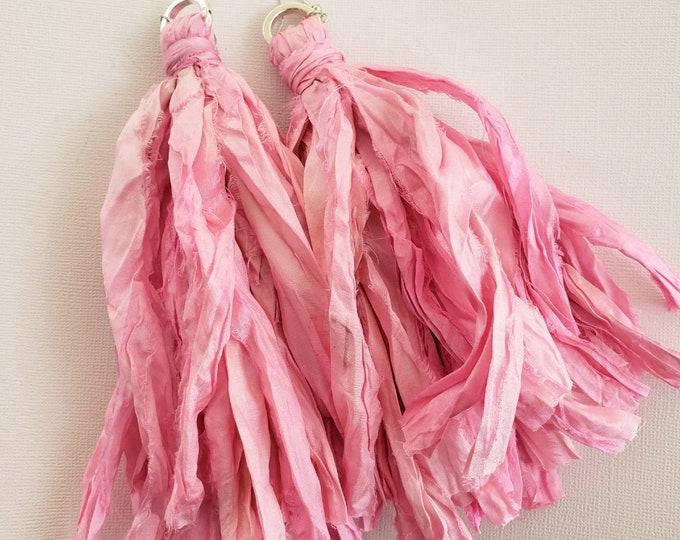 Gypsy sari silk tassel earrings. Pink pastel color, bohochic, afrocentric, fringe earrings, statement earrings, tassel earrings.