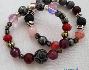 READY TO SHIP, Stretch Beaded bracelet, semi precious stones, mixed media and stones, stacked bracelet, arm candy