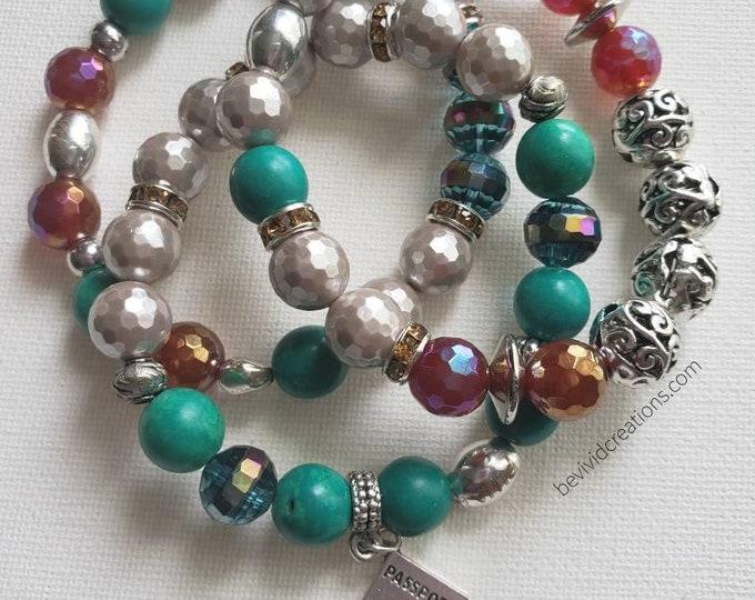 READY TO SHIP jade carnelian mother of pearl metals multi semi precious stretch bracelet