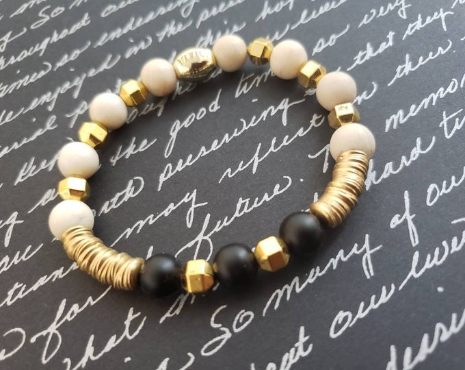 hematite  agate and metal stretch beaded bracelet