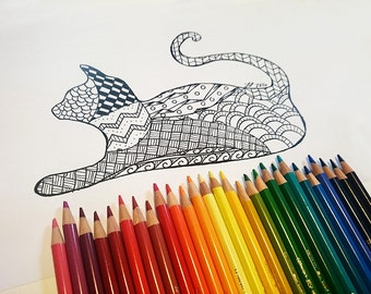 Colorful Cat Coloring Sheet - PDF File
