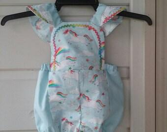 Baby Blue Unicorn Romper.