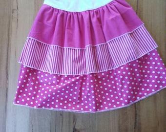 Jazzy Pink and White Layered Skirt