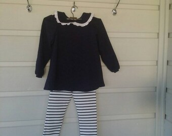 Navy Top and Striped Pants
