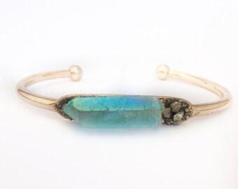 Custom reiki Aqua aura quartz jewellery, pyrite bracelet, chakra jewellery, Raw gemstone bangle, crystal gold cuff bracelet, gift-for-her,