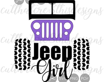 Jeep Girl Grill Lights Jeeping Tires Quotes Decal SVG | Etsy