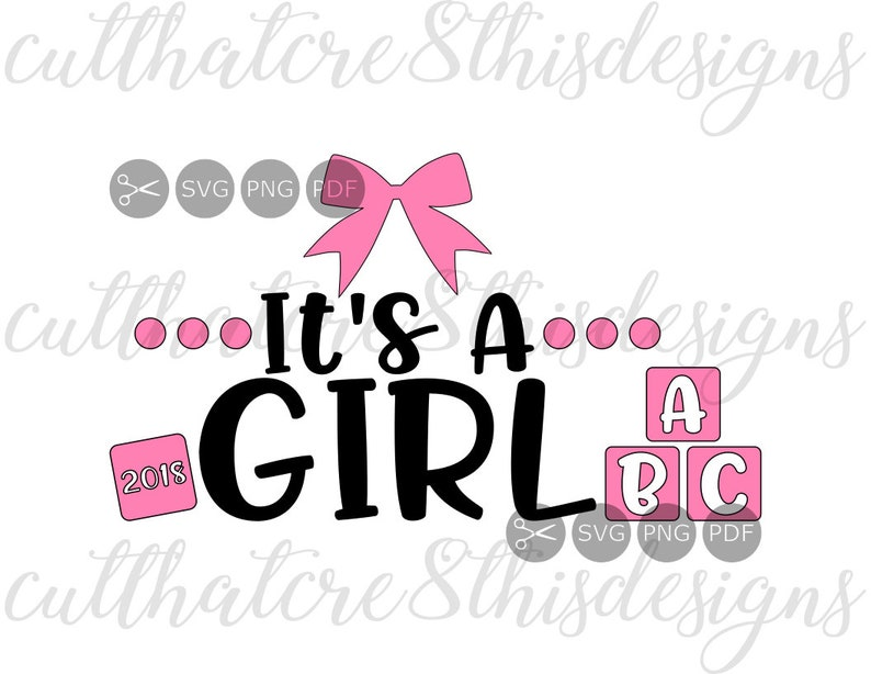 It S A Girl Pink Bows Blocks Baby Shower Quotes Svg Etsy