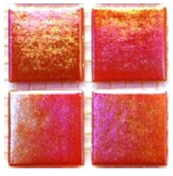 75 Vitreous Iridescent Mosaic Tiles 20mm Ruby Red