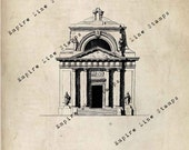 18th Century Church - Digital Download Image Transfer Pillow Burlap Iron-On Teeshirt Fabric Scrapbooking Digital Stamp