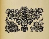 Baroque Acanthus Floral Swirls - Digital Download Image Transfer Pillow Burlap Iron-On Teeshirt Fabric Scrapbooking Digital Stamp