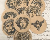 Antique Style Mythical Neoclassical Tags Round Cards Medusa Gods Goddess Sphinx Gothic Edgy