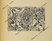 Baroque Mural - Digital Download Image Transfer Pillow Burlap Iron-On Teeshirt Fabric Scrapbooking Digital Stamp