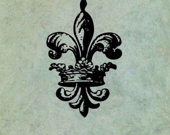 Crowned Fleur de Lys- Antique Style Clear Stamp