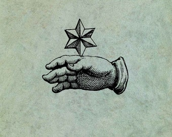 Hand with Star - Antique Style Clear Stamp