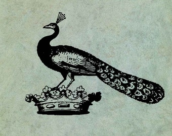 Peacock on a Crown - Antique Style Clear Stamp