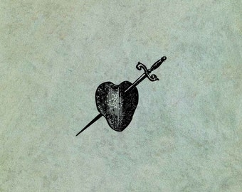 Heart Pierced by Sword Dagger SMALL - Antique Style Clear Stamp