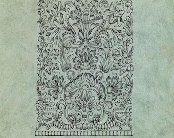 ATC Background Ornate Muslin Embroidery Pattern Georgian Jane Austen Era - Antique Style Clear Stamp