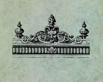 Neoclassical Greek Gargoyle Header Border - Antique Style Clear Stamp