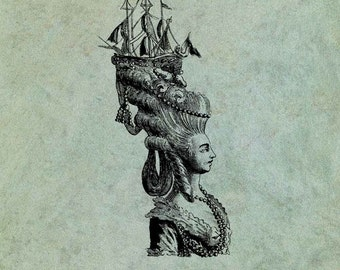 18th Century Lady With Ornate Ship Hairstyle- Antique Style Clear Stamp