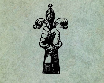 Hand Holding Fleur de Lys- Antique Style Clear Stamp