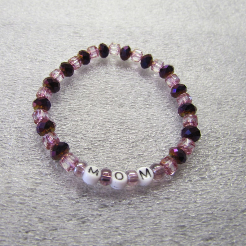 Czech Crystal Beads Gold Trim Pink Beaded Bracelet Mother/'s Day Cathedral Beads Purple Pretty MOM Stretch Cord Glass Letter Beads