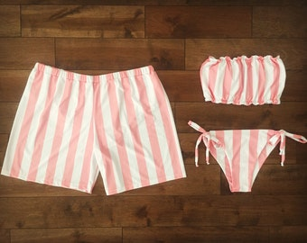 86d6333ff21ae Matching swimsuits // matching swimsuits for couple // woman swimsuit //  men short // couple swimsuits // honeymoon // pink stripes
