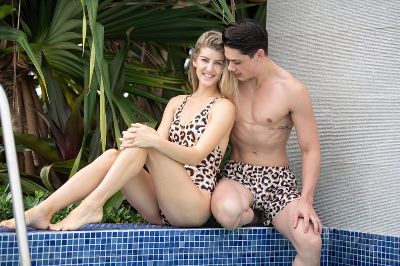 2876b023b6 Matching swimsuits    matching outfit    swimsuits for couple    woman  swimsuit    men trunck    leopard print    couple swimsuit