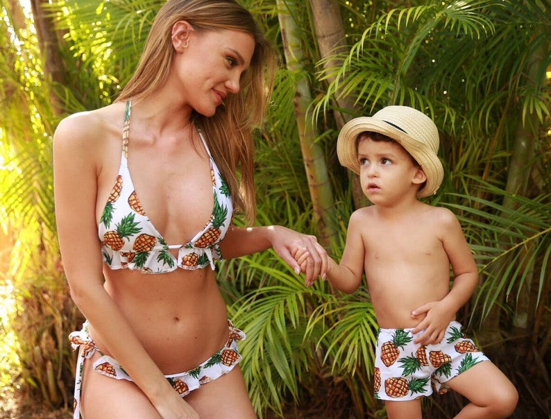 1676cd4f47 Bikini and trunck    mother and son swimsuit    mommy and me