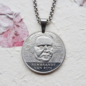 Unique gift Wearable art Huge pendant of a portret bij Rembrandt A Man with a Feathered Beret by Van Rijn Big statement necklace pendant